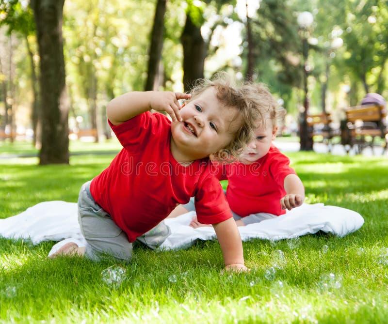 Het spel van kinderentweelingen op het gras stock foto's
