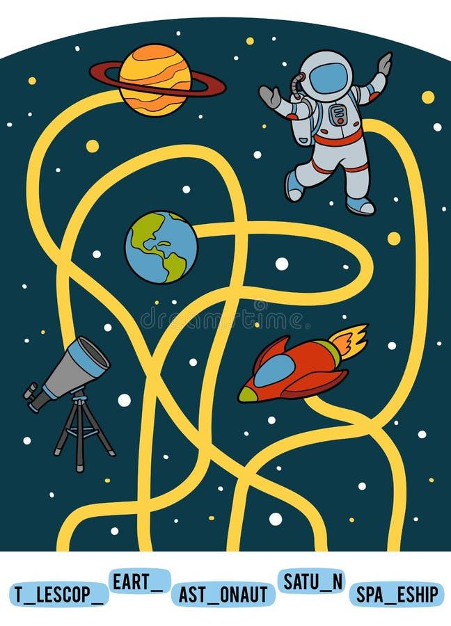 Het spel van het labyrint voor kinderen Een reeks ruimtevoorwerpen royalty-vrije illustratie