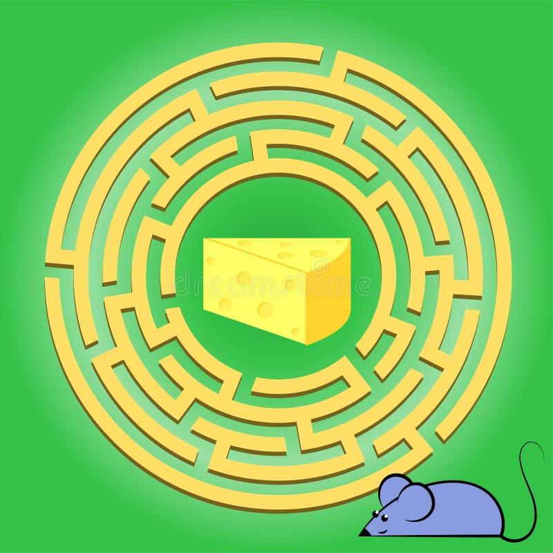 Het spel van labyrintkinderen: help de muis door het labyrint gaan en een kaas krijgen Beeldverhaal kleurrijk karakter Peuter ond royalty-vrije illustratie