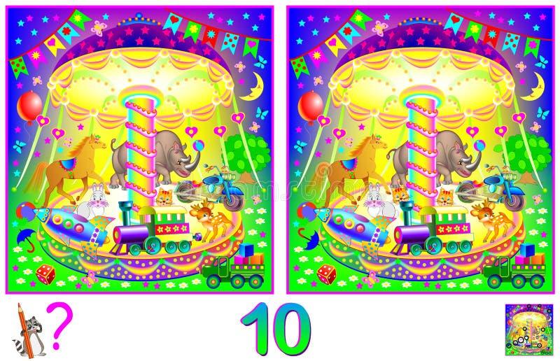 Het spel van het logicaraadsel voor kinderen en volwassenen Behoefte om 10 verschillen te vinden Het ontwikkelen van vaardigheden stock illustratie