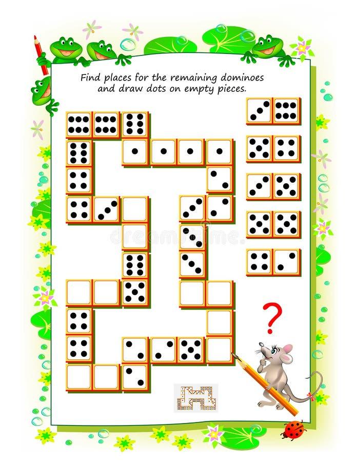Het spel van het logicaraadsel voor kleine kinderen Behoefte om plaatsen voor de resterende domino's te vinden en punten te trekk stock illustratie