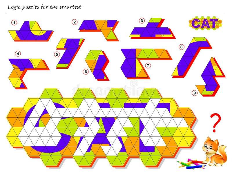 Het spel van het logicaraadsel voor slimste Behoefte om de correcte plaatsen te vinden voor het blijven cijfers, trekt hen en las royalty-vrije illustratie