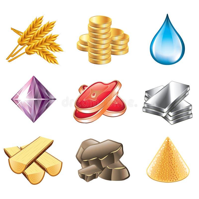Het spel van middelen voorziet pictogrammen vectorreeks stock illustratie