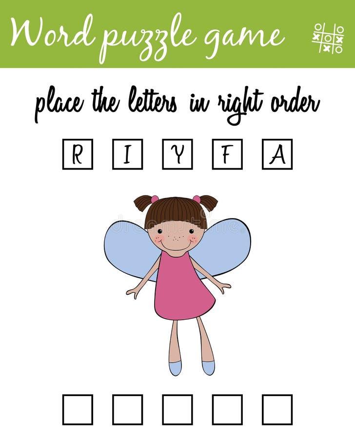 Het spel van het woordenraadsel met fee Plaats de brieven in juiste orde Het leren woordenschat Onderwijsspel voor kinderen vector illustratie