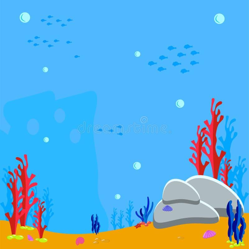 Het Spel vectorillustratie van het overzeese bodembeeldverhaal van rotsen en zeewier op de zandige bodem Bellenwater en silhouetv royalty-vrije illustratie