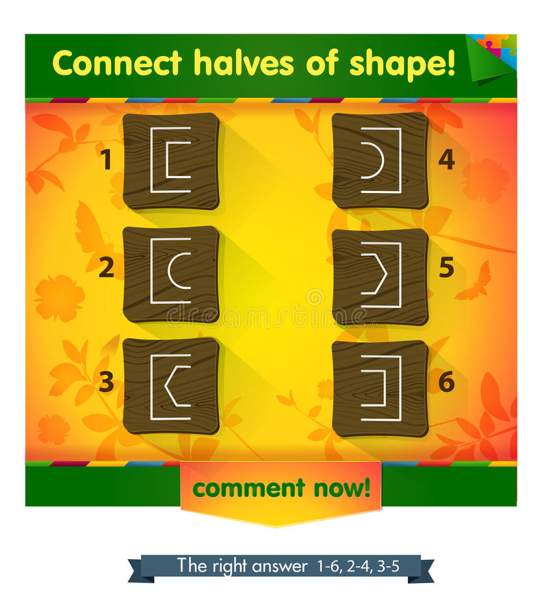 Het spel verbindt de helften van vorm stock illustratie