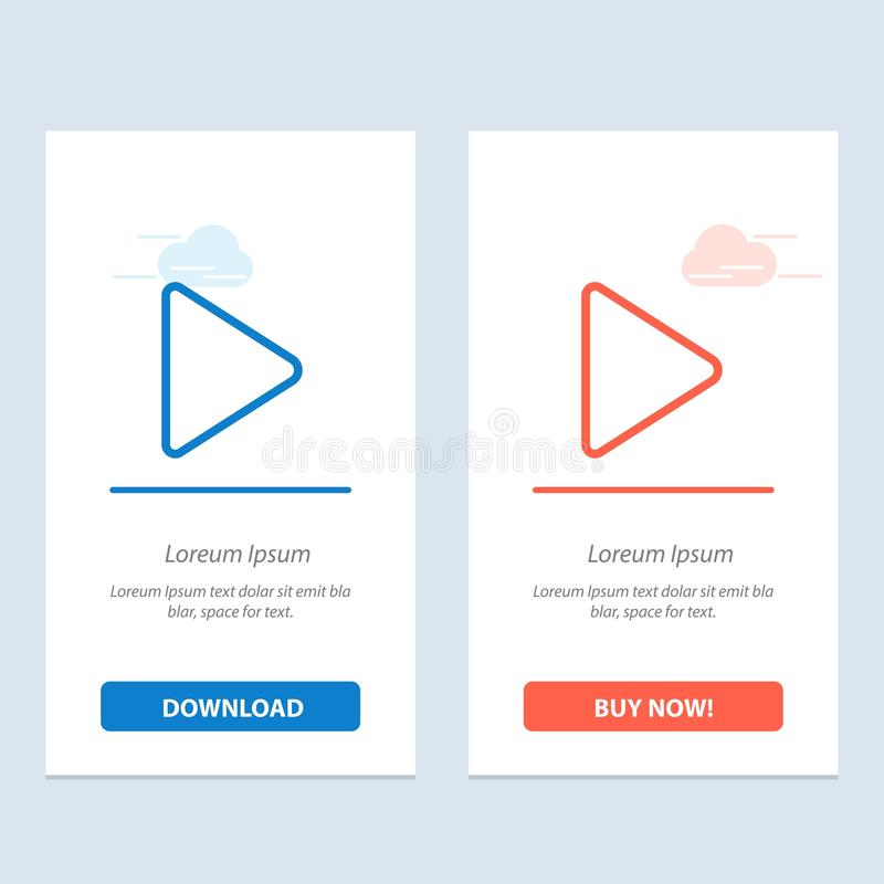 Het spel, Video, tjirpt Blauwe en Rode Download en koopt nu de Kaartmalplaatje van Webwidget stock illustratie