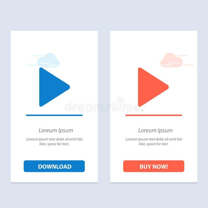 Het spel, Video, tjirpt Blauwe en Rode Download en koopt nu de Kaartmalplaatje van Webwidget royalty-vrije illustratie