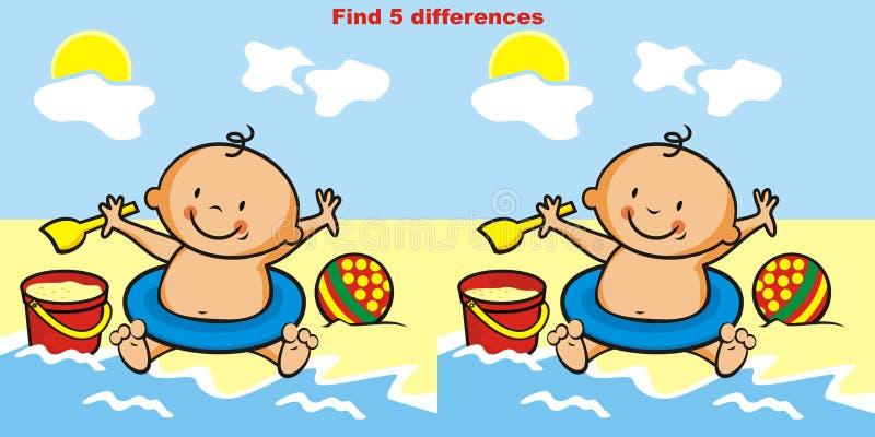 Het spel, vindt 5 verschillen vector illustratie