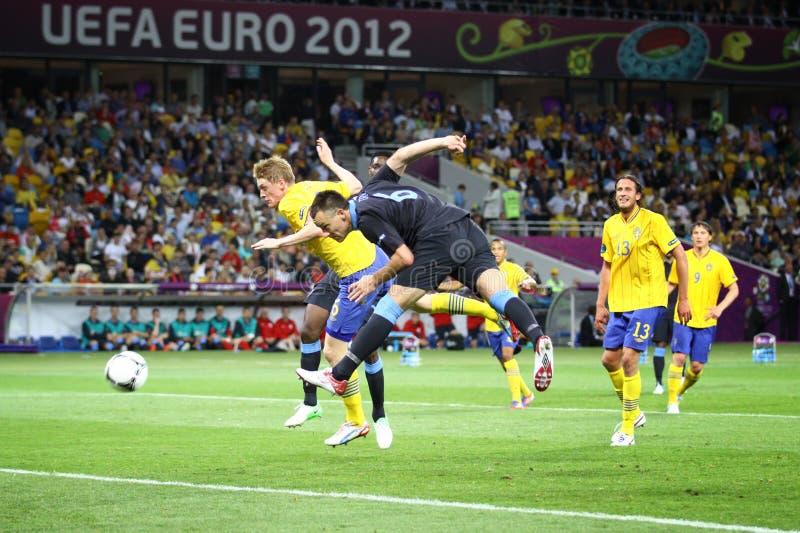 Het spel Zweden van 2012 van de EURO van UEFA versus Engeland stock afbeeldingen