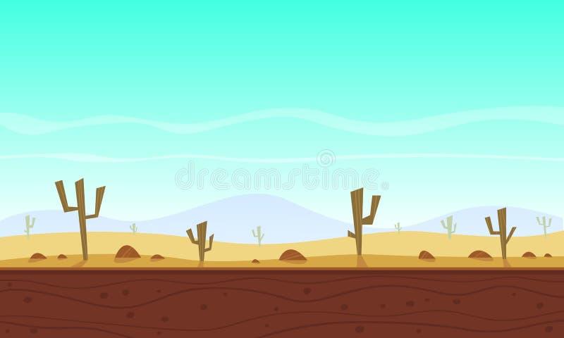 Het spelachtergrond van het woestijnbeeldverhaal stock illustratie