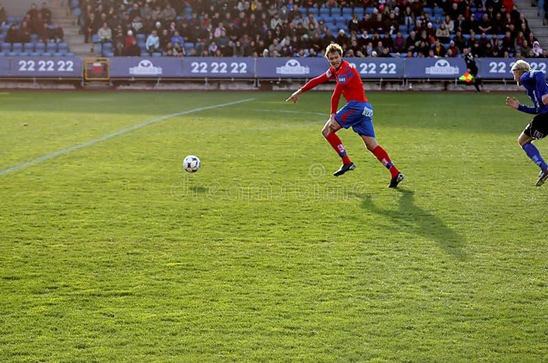 Het spelactie van de voetbal stock foto