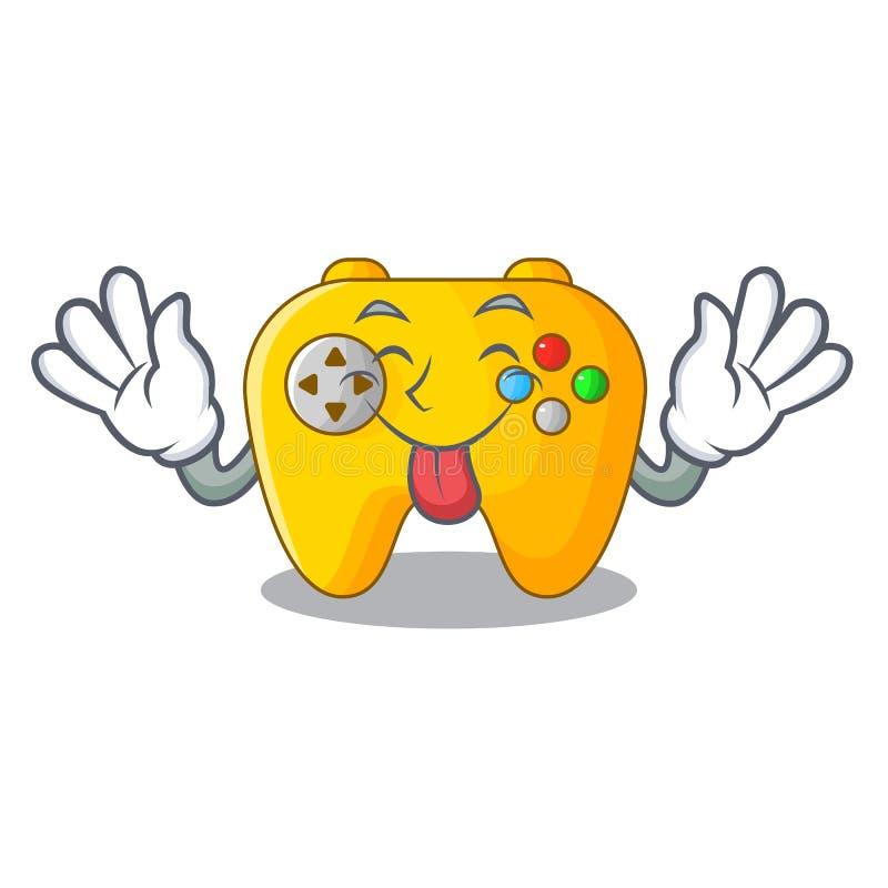 Het spelcontrole van de tong uit retro computer op mascotte stock illustratie