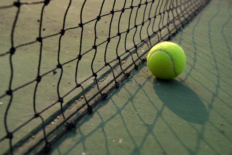 Het spelen de bal van het speltennis op tennisbaan stock foto's