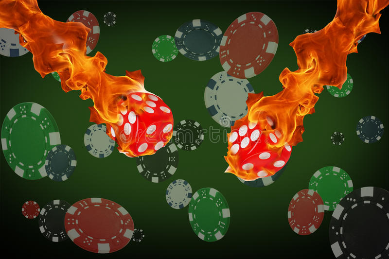 Het spelen de spaanders en de brand dobbelen het vliegen bij de pooklijst stock illustratie