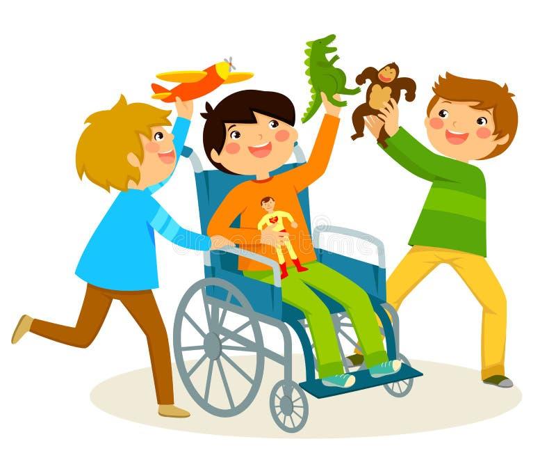 het spelen in een rolstoel stock illustratie