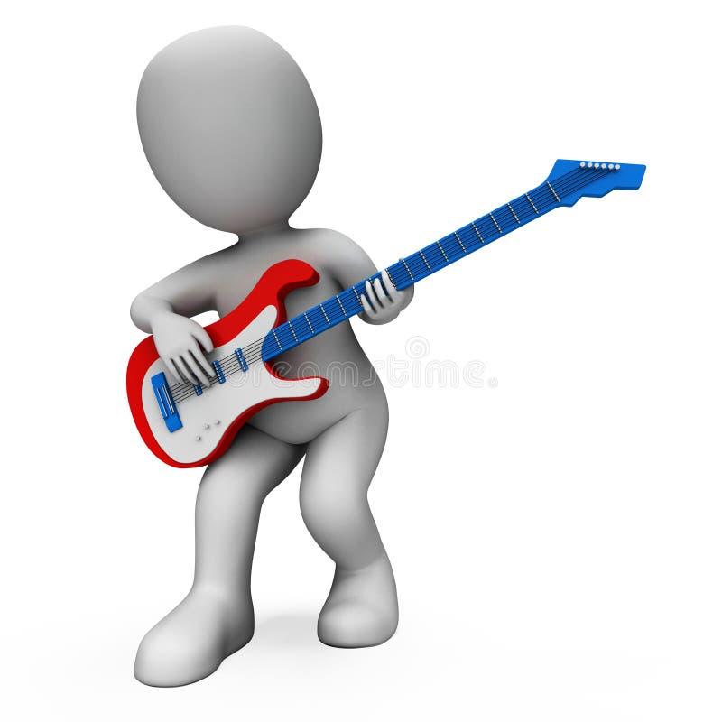 Het Spelen en het Karakter van Shows Music Guitar van de rotsgitarist vector illustratie