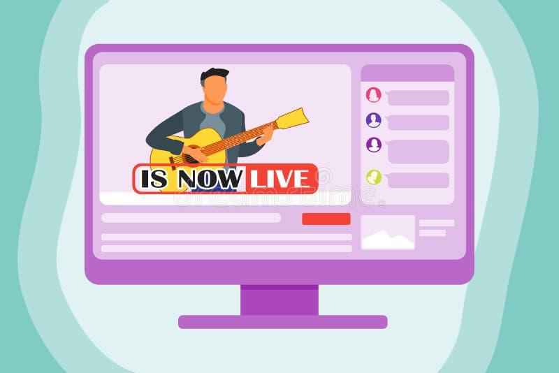 Het spelen Gitaar Live On The Internet vector illustratie