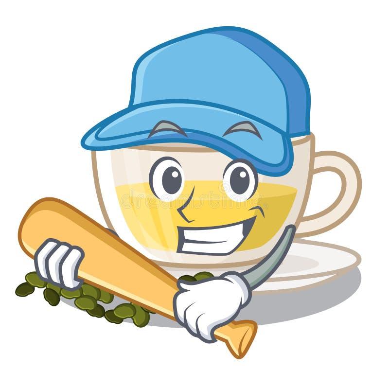 Het spelen honkbal oolong thee in karakterkop die wordt gegoten royalty-vrije illustratie