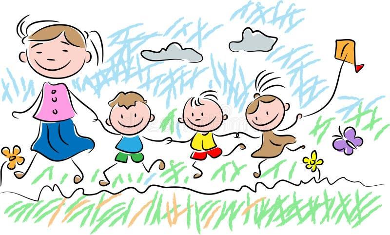 Het spelen jonge geitjes vector illustratie