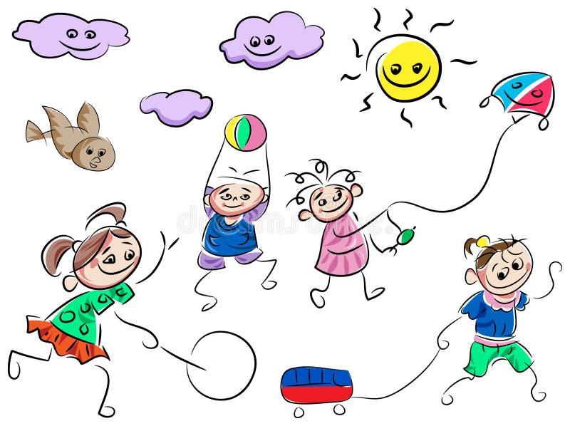 Het spelen jonge geitjesbeeldverhalen vector illustratie