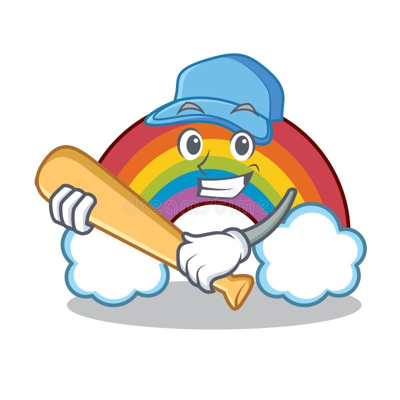 Het spelen het karakterbeeldverhaal van de honkbal kleurrijk regenboog stock illustratie