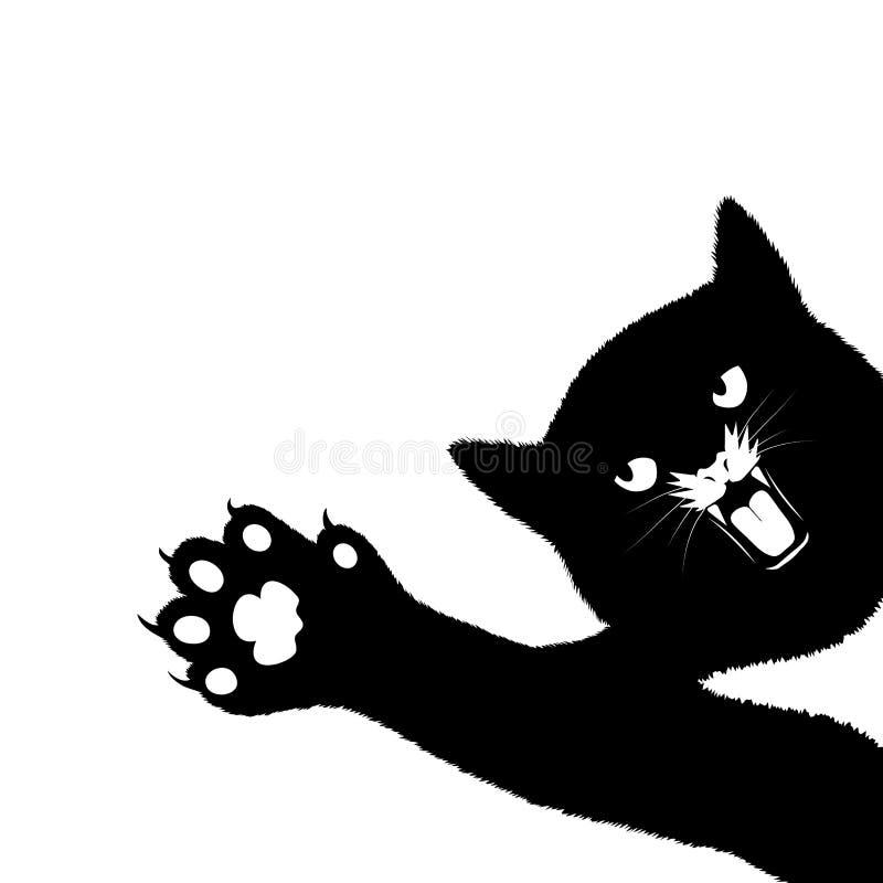 Het spelen kat op een witte achtergrond stock illustratie