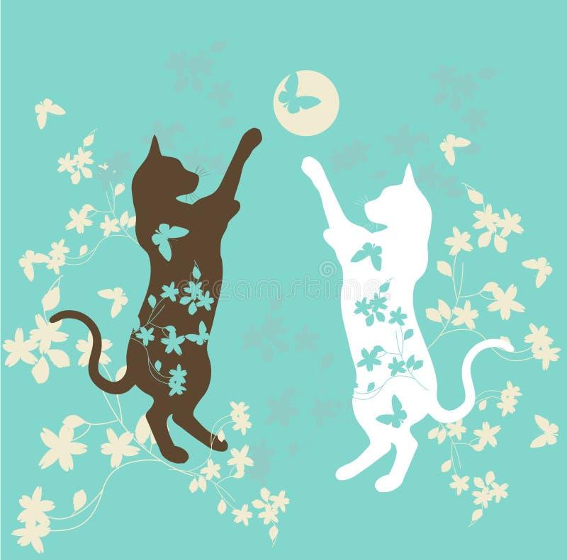 Het spelen katten royalty-vrije illustratie