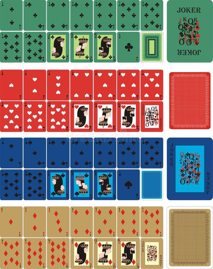 Het spelen KLEURENkaarten voor RUMMU 3 royalty-vrije illustratie