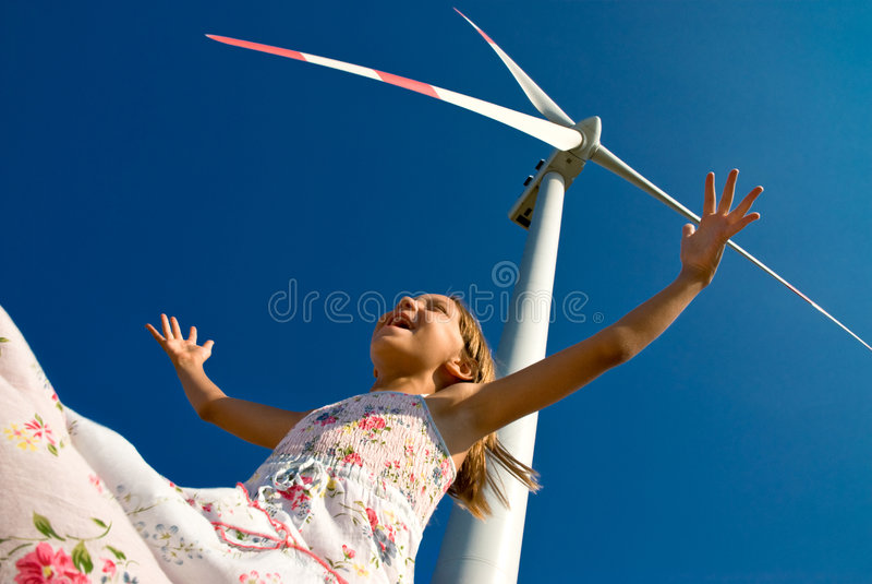 het spelen met de wind stock foto's