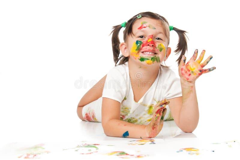 Het spelen met kleuren en het golven stock foto