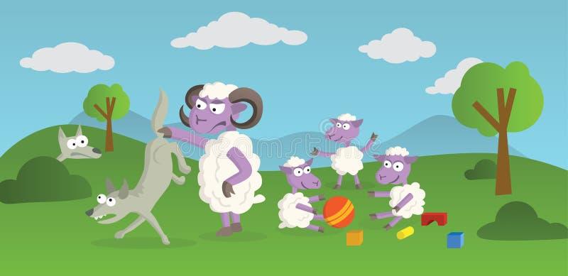 Het spelen Sheeps en Wolven royalty-vrije illustratie