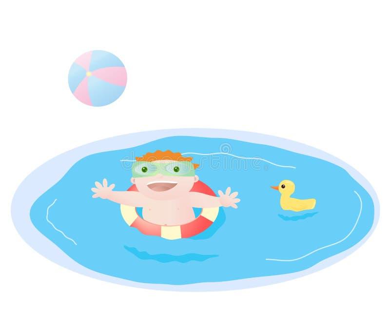 Het spelen van de baby in pool stock illustratie
