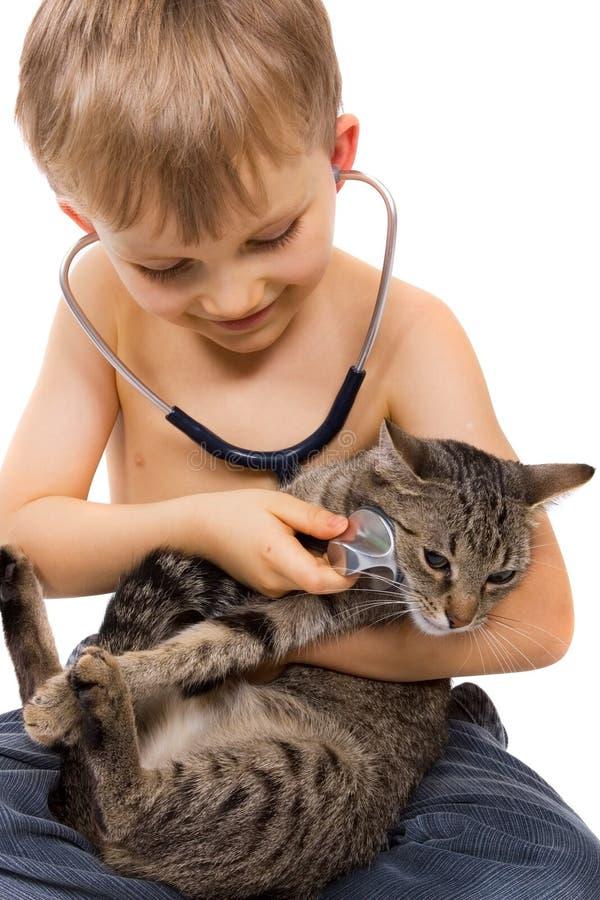 Het Spelen van de jongen met Kat en Stethoscoop royalty-vrije stock foto's