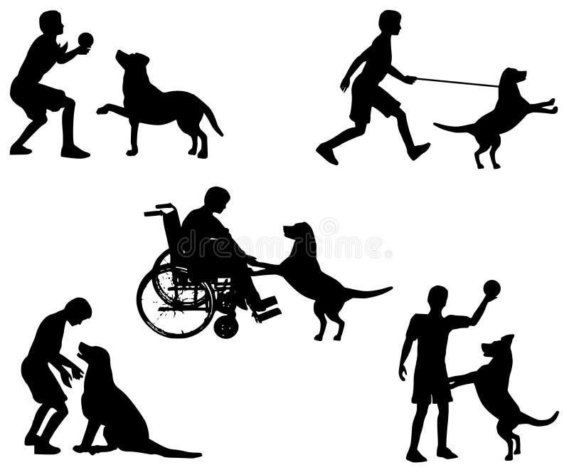 Het Spelen van de jongen met Zijn Inzameling van de Hond royalty-vrije illustratie