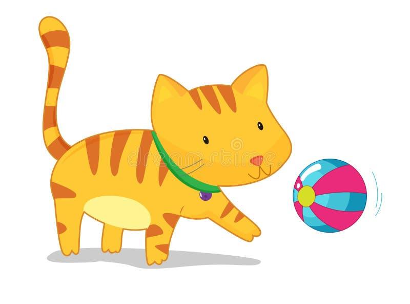 Het spelen van de kat met bal stock illustratie