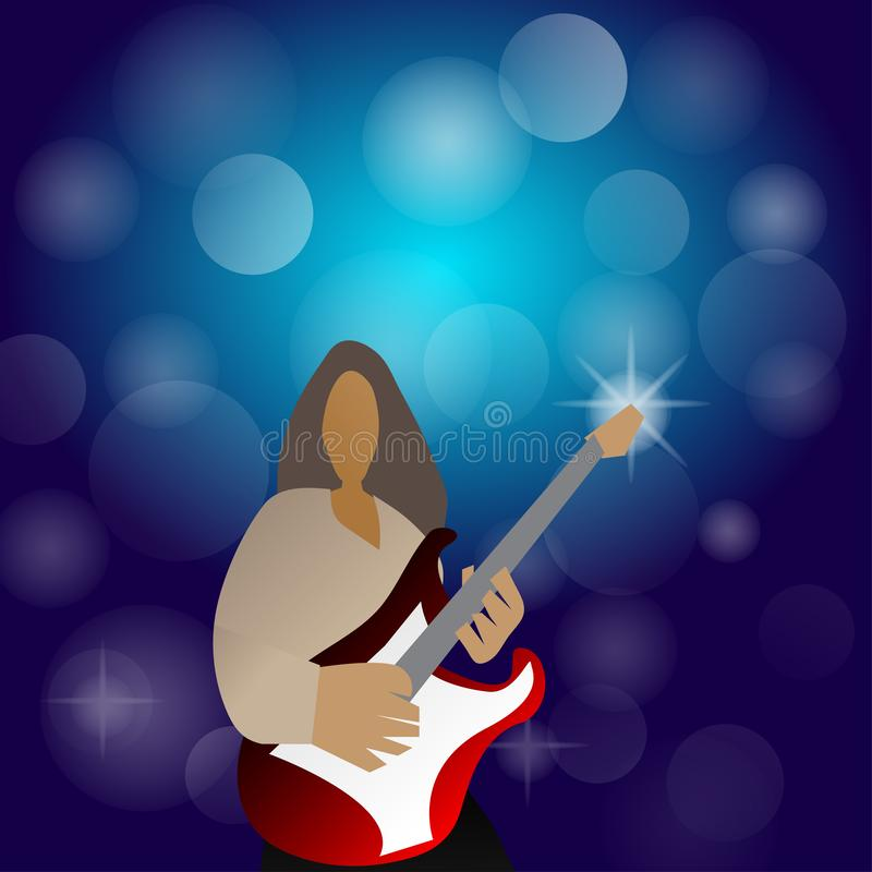 Het spelen van de mens gitaar stock illustratie