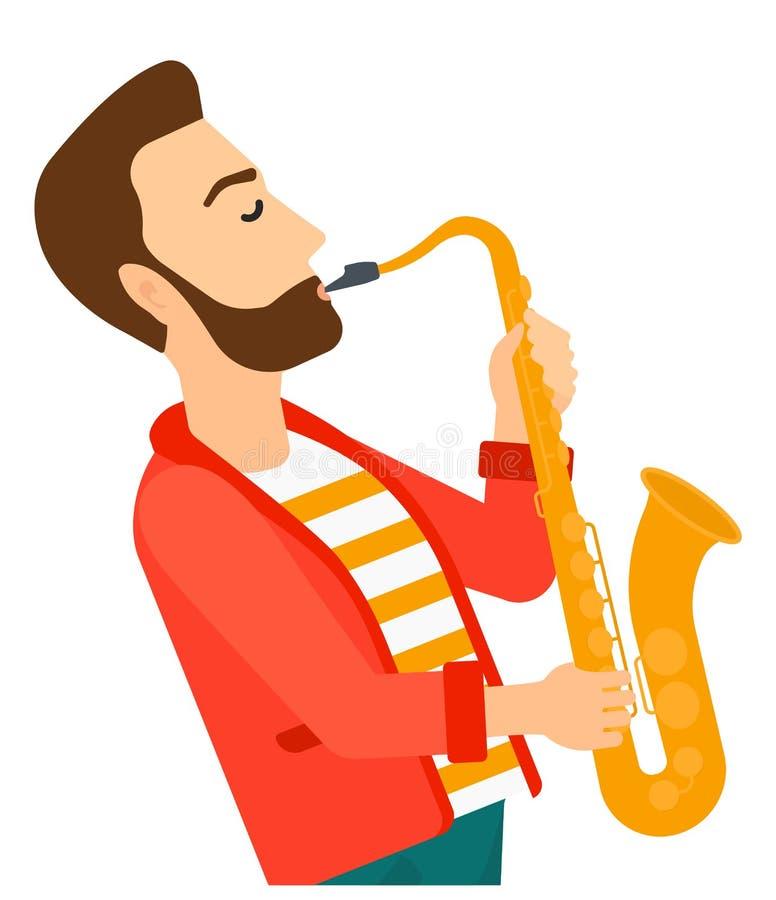 Het spelen van de mens saxofoon vector illustratie