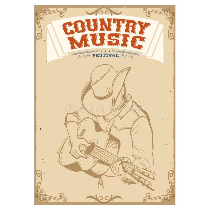 Het spelen van de musicus gitaar De achtergrond van het country muziekfestival voor te vector illustratie