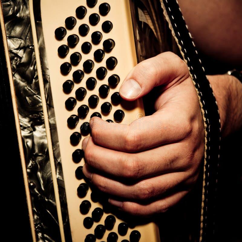 Het spelen van de musicus harmonika royalty-vrije stock foto