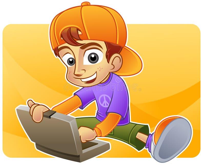 Het spelen van de tiener met zijn laptop vector illustratie