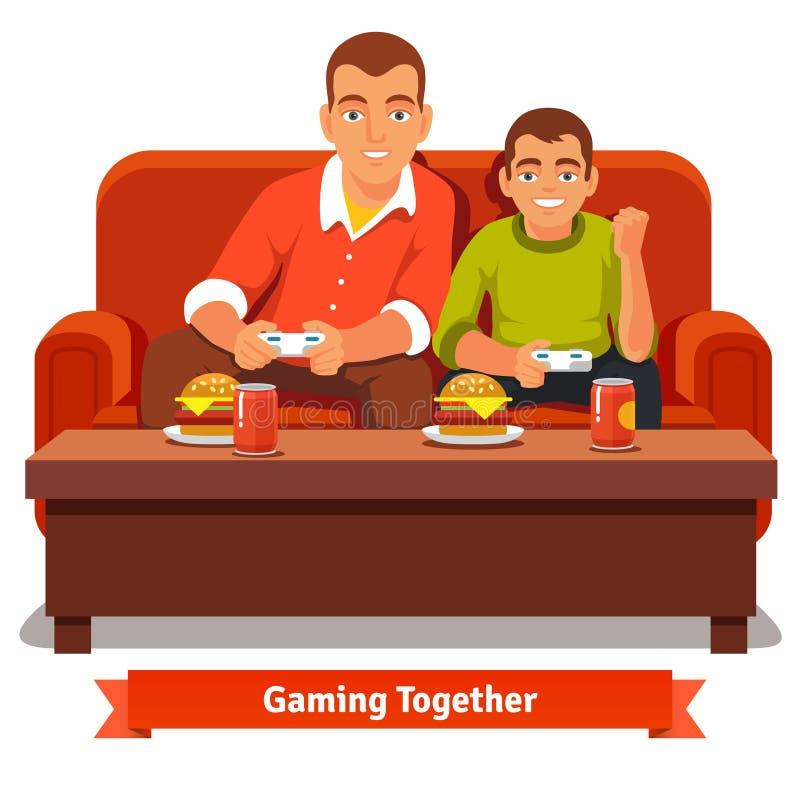 Het spelen van de vader en van de zoon videospelletjes royalty-vrije illustratie