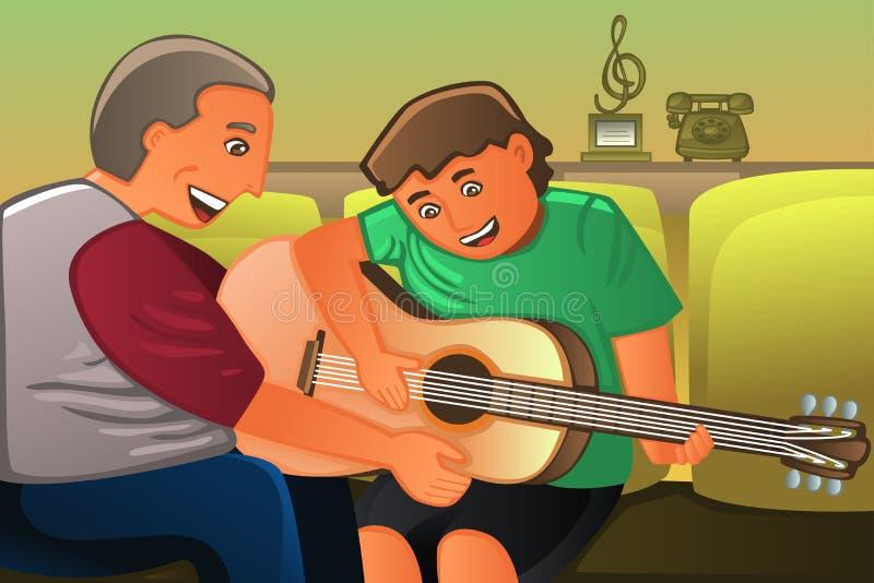 Het spelen van de vader gitaar met zijn zoon vector illustratie