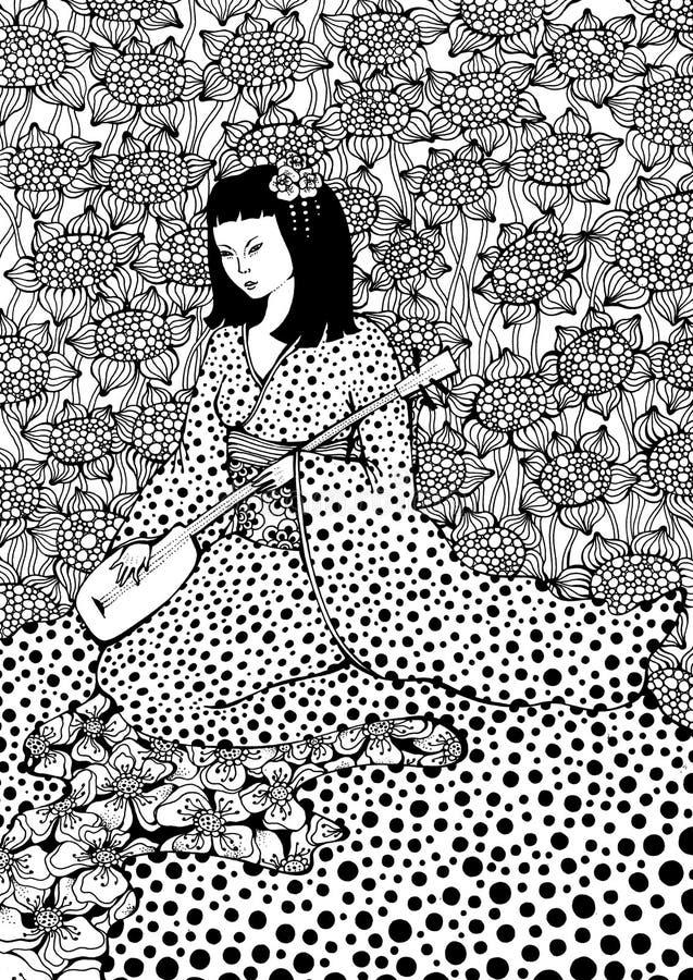 Het Spelen van de vrouw Gitaar vector illustratie