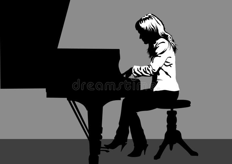 Het spelen van de vrouw piano royalty-vrije illustratie