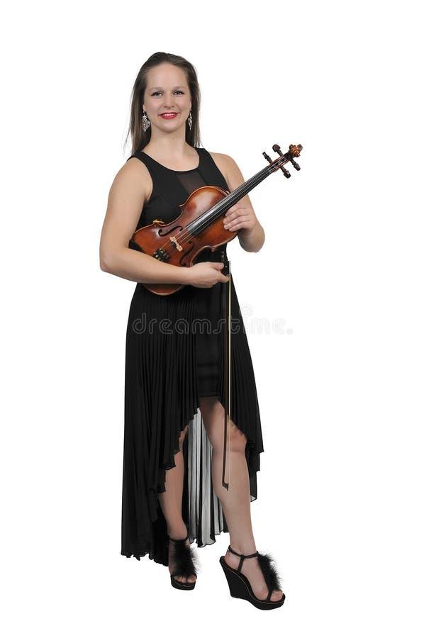 Het spelen van de vrouw viool stock foto