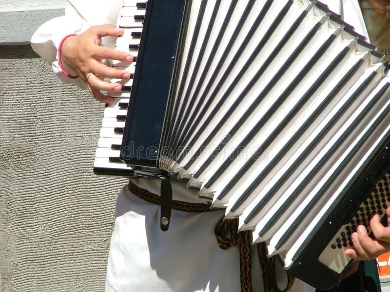 Het spelen van een harmonika stock afbeeldingen