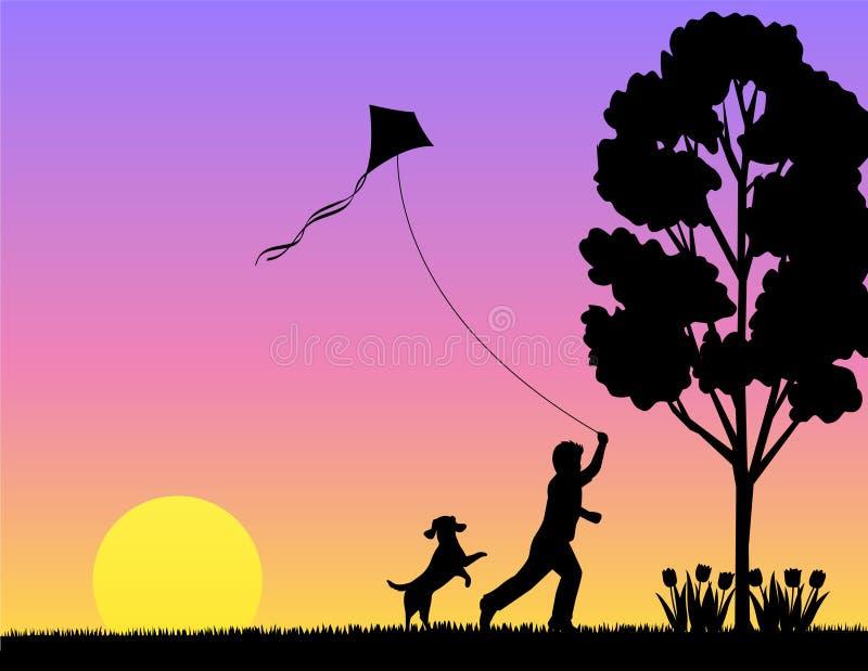 Het Spelen van het kind in de Lente/eps royalty-vrije illustratie