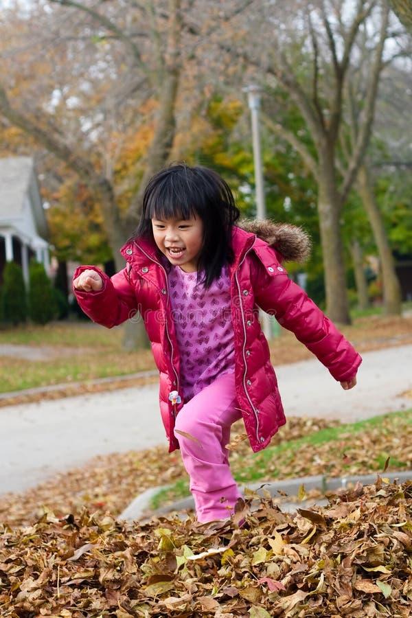 Het spelen van het meisje in dalingsbladeren stock foto
