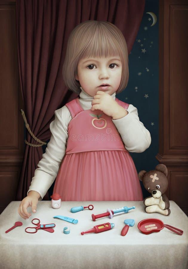 Het spelen van het meisje in de Arts royalty-vrije illustratie